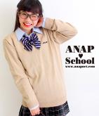 ANAPロゴ刺繍シンプルVネックセーター