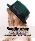 リボンフェルトカンカン帽子