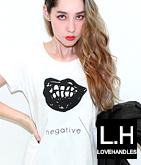 negativeリッププリントチュニックTシャツ