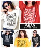 『ANAP』ロゴBOXプリント裏毛BIGトレーナー