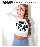 ロゴ刺繍スラブロングTシャツ