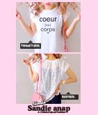 BACKレースcoeurプリントTシャツ