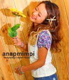 flowerスリーブプリントTシャツ