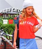 SURF CHICプリントTシャツ