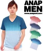 ボーダーグラデーションVネックTシャツ