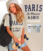 PARISロゴプリントTシャツ