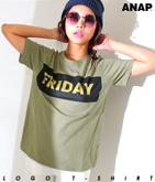 ゴールド箔BOXロゴプリントTシャツ
