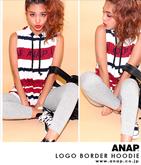 『ANAP』ロゴボーダーフーディーチュニック