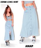 カットデニムフロントボタンロングスカート