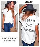 バックプリント変形Tシャツ