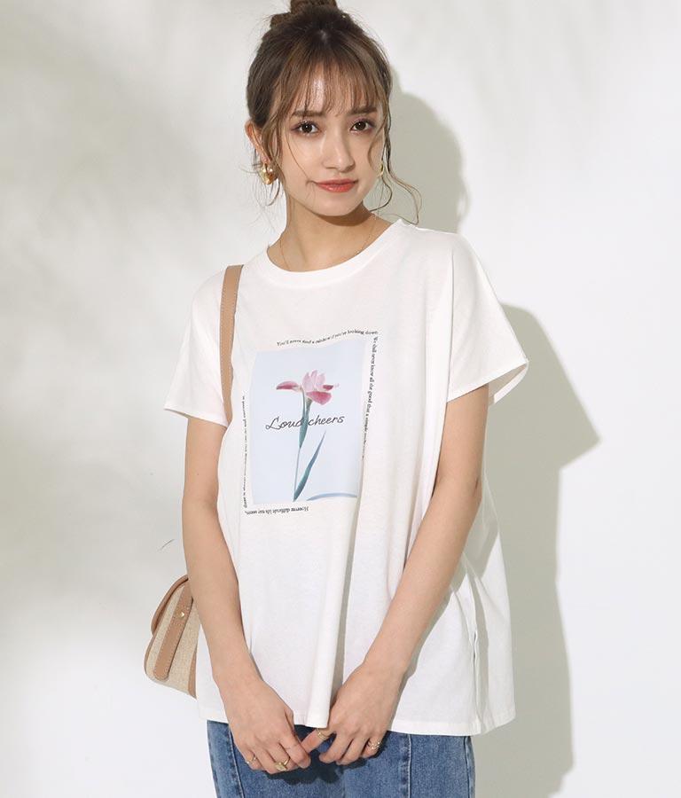 フラワーシートプリントTシャツ