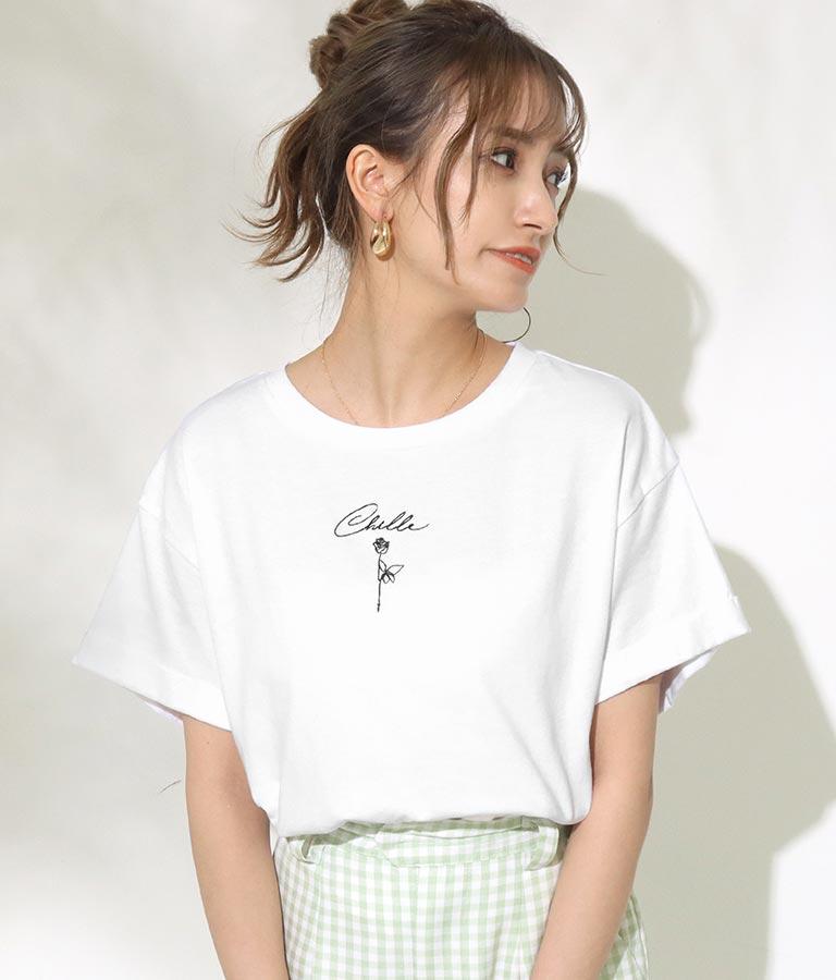 CHILLE筆記体ローズTシャツ